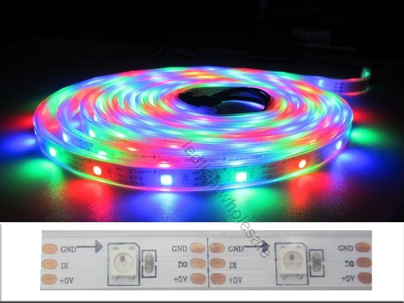 5M WS2811/WS2812B IC intégré 5050 RGB LED bande lumineuse adressable individuelle 5V
