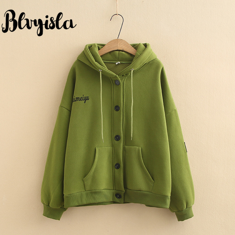 Blvyisla 4XL Loose Thicken Hoodies Sweatshirts Student Female Short Style Sportswear Button Outwear Coats Oversize Tops
