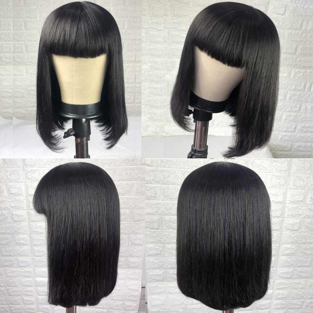 Perucas de cabelo humano perucas bob peruca de cabelo humano curto com franja para as mulheres negras cor natural remy cabelo reto brasileiro bang perucas