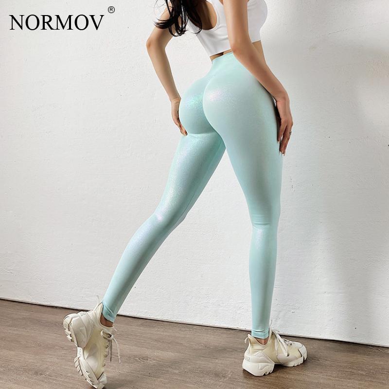 NORMOV kadın tayt seksi kabarcık Butt yüksek bel Push Up dikişsiz spor tayt kadınlar sedefli parlak streç Leggins