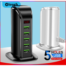 Elough 5 Port USB Charger HUB LED Display Multi USB Charging Station Dock Universal Mobile Phone Desktop Wall Home EU US UK Plug