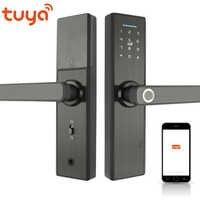 RAYKUBE Wifi elektroniczny zamek do drzwi z aplikacją Tuya zdalnie/biometryczny linii papilarnych/kart inteligentnych/hasło/klucz do odblokowania FG5 Plus