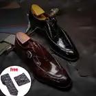 Scarpe di Cuoio Degli Uomini di Affari Vestito di Vestito Scarpe da Uomo di Marca Bullock Vera Pelle Nera Slipon Cerimonia Nuziale Del Mens Scarpe Phenkang - 3