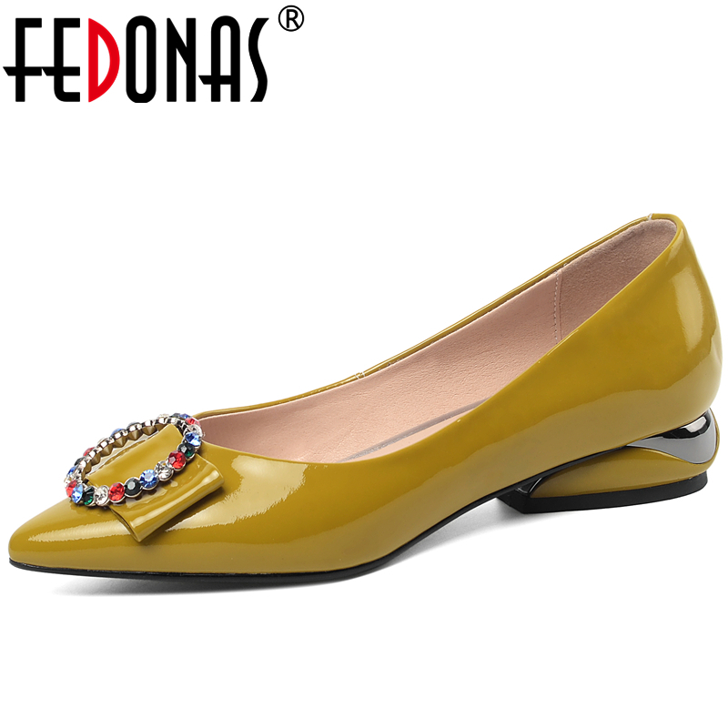 FEDONAS New Concise Women Cow Patent Leather Shoes Casual Office Colored Rhinestones Metal Ring Pointed Toe Shallow Shoes Woman