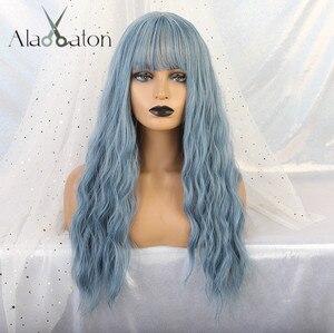 Image 3 - アランイートン波状女性かつら高温繊維合成かつらロング波状毛ウィッグ女性ブルーかつら前髪女性