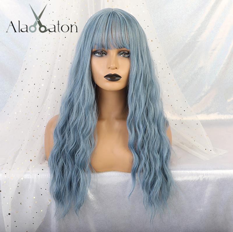 ALAN EATON Wavy Women Wigs High Temperature Fiber Synthetic Wigs Long Wavy Hair Cosplay Wigs For Women Blue Wig With Bangs Lady