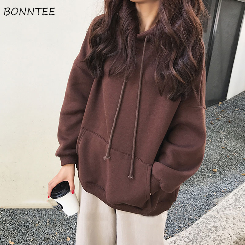 Hoodies Women Hooded Korean Style High Quality Thicker Velvet Solid Students Harajuku Streetwear BF Couples Womens Lovely Brown