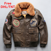 Spring Men's Air Force Flight G1 Pilot Jacket Genuine Cow Leather Jacket Warm Fur Collar Brown Coat Free DHL/TNT Fast Shipping стоимость