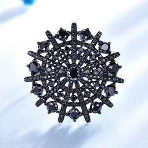 Image 2 - UMCHO Taş Doğal Siyah Spinel Yüzük Kadın Katı 925 Ayar Gümüş Yüzük Kadınlar Için Yuvarlak Düğün Nişan Takı Hediye