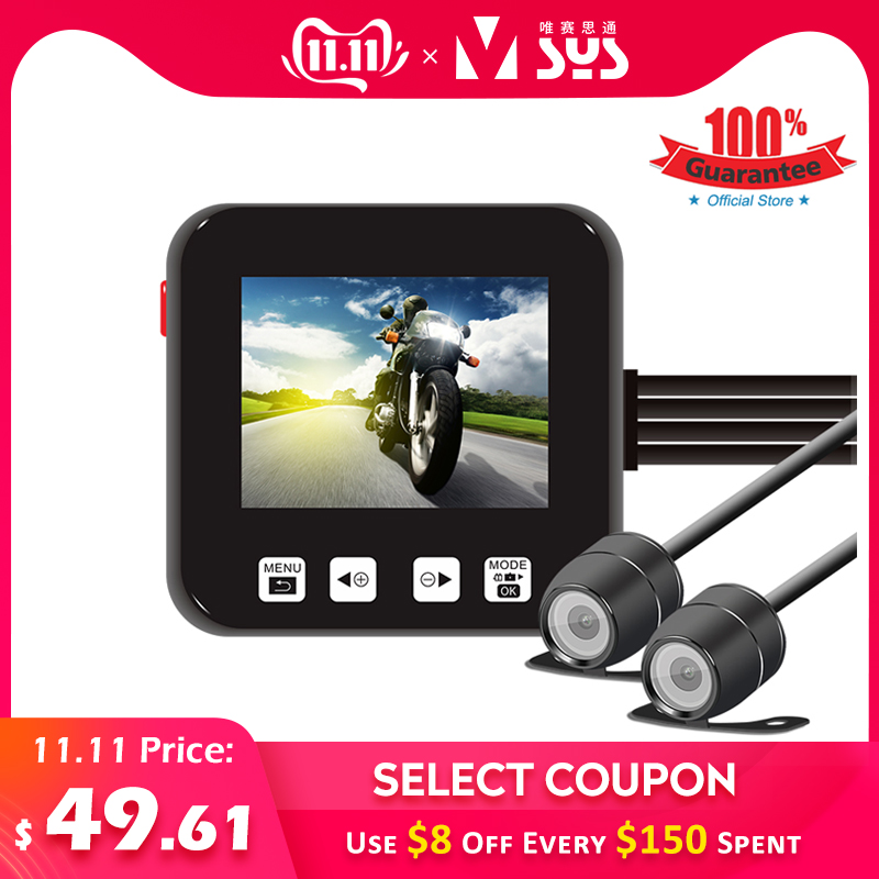 SYS VSYS C6 Dual Motorcycle Action Camera Recorder DVR Front and Rear View Waterproof Motorcycle Dash Cam Black Night Vision Box-in DVR/Dash Camera from Automobiles & Motorcycles