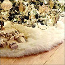 Branco árvore de natal saia de pelúcia do falso pele tapete de assoalho de natal enfeites feliz natal ano novo decoração da árvore de natal