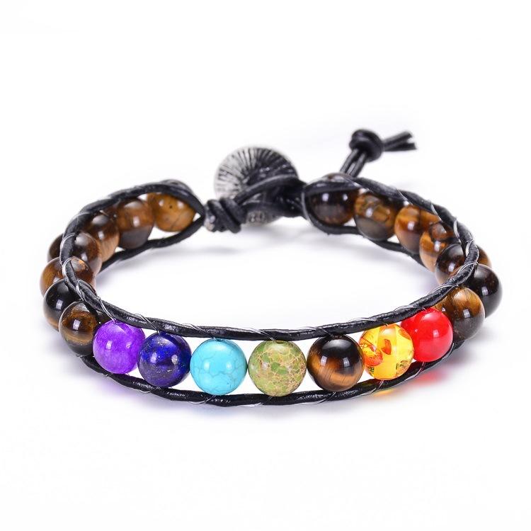 H895f7fc826c74776862981f55c745232h - New Colorful 7 Chakra Bead Leather Rope Braided Bracelet Natural Tiger's Eye Volcanic Stone Energy Yoga Bracelet Women Jewelry