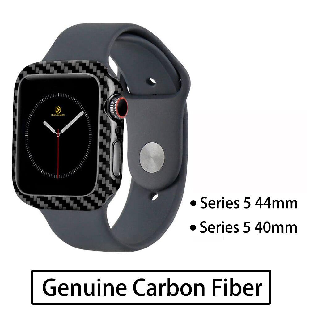 MONOCARBON Тонкий чехол из настоящего углеродного волокна для Apple Watch 44 мм 40 мм серии 5 Gen 5 чехол из углеродного волокна