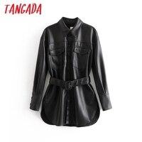 Tangada Women faux leather jacket coat with belt turn down collar Ladies Long Sleeve boyfriend style oversize Black Coat 6A308