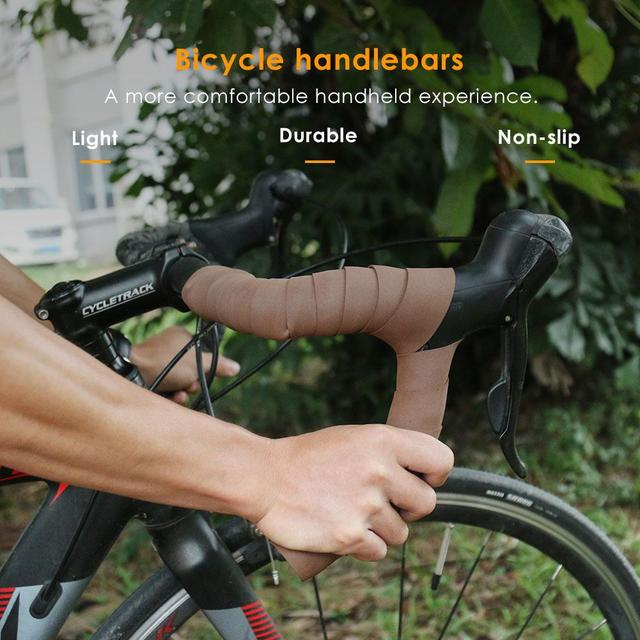 Brown 2pcs Bike Bicycle Handlebar Tape Anti-Slip Cycling Handle Belt Sponge Bandage Anti-sweat Handlebar Cover Practical 2