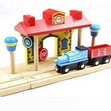 Деревянный трек игрушка поезд сцена трек аксессуары железнодорожная станция Подходит Игрушка BRIO автомобиль грузовик локомотив двигатель железная дорога игрушки для детей