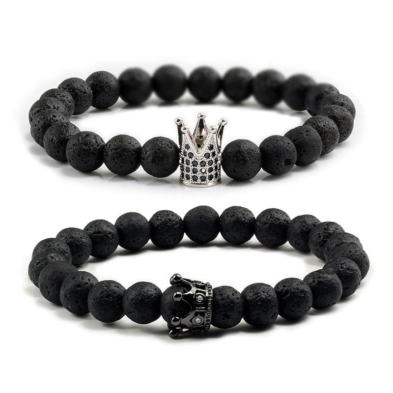 Natural Lava Stone Bracelets Pave CZ Imperial Crown Charm 8mm Bead Bracelet for Women Men Fashion Jewelry Male Pulseira hombres