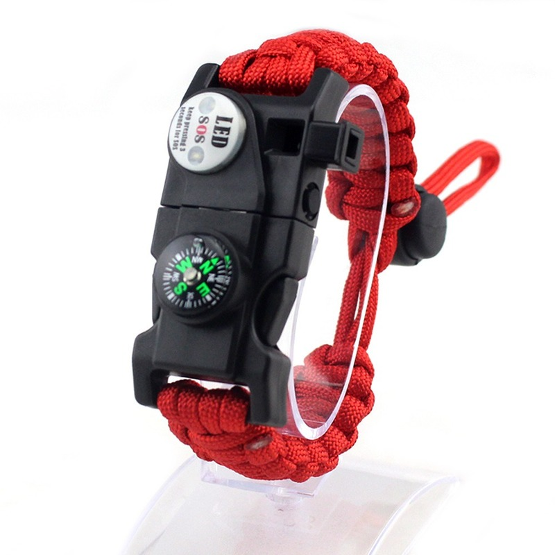 Outdoor Equipment Survival Bracelet Adjustable Umbrella Rope Woven Bracelet Multi-functional Compass LED Thermometer Bracelet