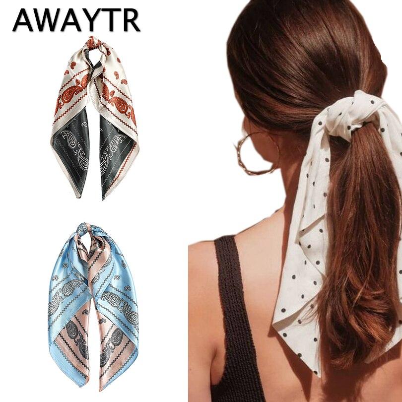 AWAYTR New Fashion Solid Color Print Hair Scarf Women Hairband Hair Tie Ribbons Spring Hairband Turban Girls Hair Accessories