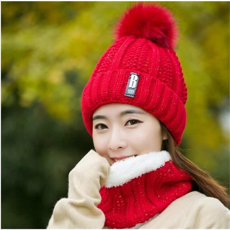 Tsuretobe Women's Winter Hat Scarf Set 2 Pieces Warm Knitted Beanies Cap For Women Fashion Plush Scarf And Crochet Hairball Hat
