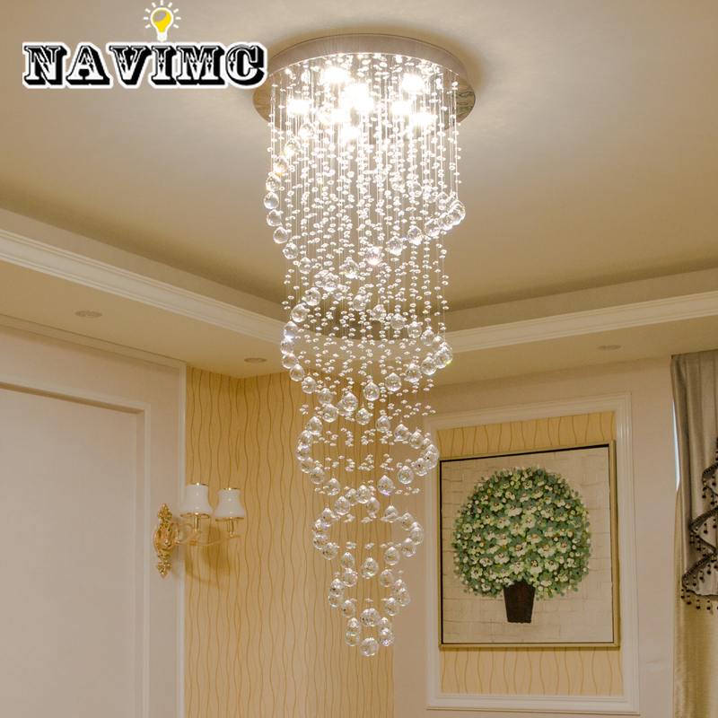 Modern LED Crystal Chandeliers Light Fixture For Staircase Stair Lights Luxury Hotel Villa Vanity Bedroom Hanging Lamp