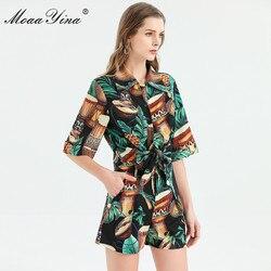 Модный дизайнерский комплект moaayina, весна-лето, женская рубашка с коротким рукавом, Инди фолк, зеленый лист, с принтом, топы + шорты, комплект и...