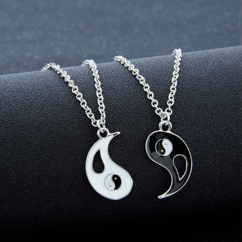 Pendants Silver Couples Black Jewelry Necklace Fashion Yin-Yang Chinese Women Lovers title=