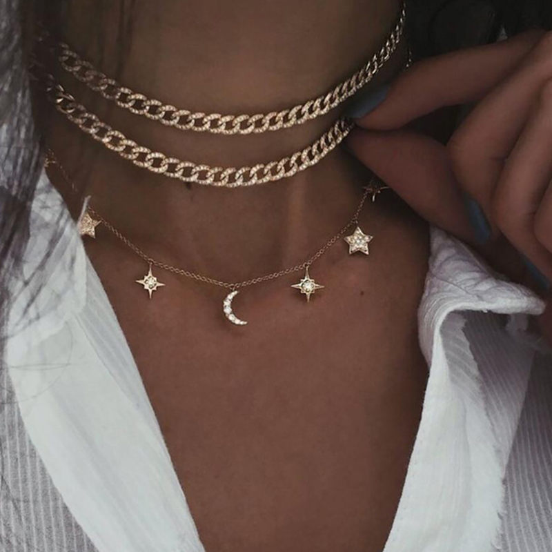 17KM Bohemian Gold Star Coin Necklace For Women Vintage Crystal Multilayer Moon Rose Eye Pendant Necklaces Chain Choker Jewelry