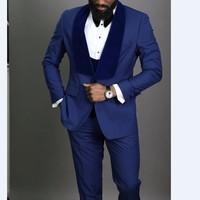New Style Groomsmen Blue Groom Tuxedos Shawl Velvet Lapel Men Suits Wedding Best Man 3 pieces ( Jacket+Pants+Vest+Tie ) C811