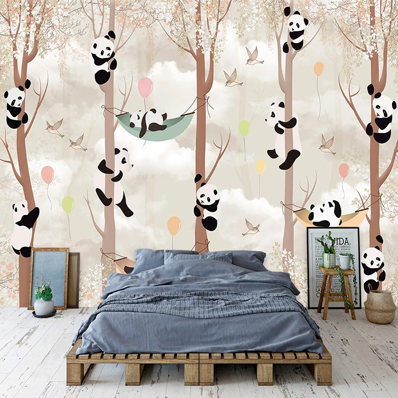 3D Photo Abstract Tree Cartoon Panda Bird Living Room Children Room Bedroom Background Mural Wallpaper Wall Painting Home Decor