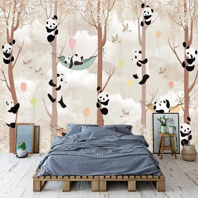 3D Photo Abstract Tree Cartoon Panda Bird Living Room Children Room Bedroom Background Mural Wallpaper Wall Painting Home Decor