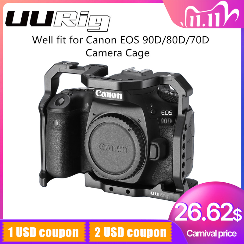 UURig DSLR Camera Cage for Canon EOS 70D 80D 90D Housing Case Cold Shoe 1 4   Arri Hole for Microphone LED Fill Light Extension