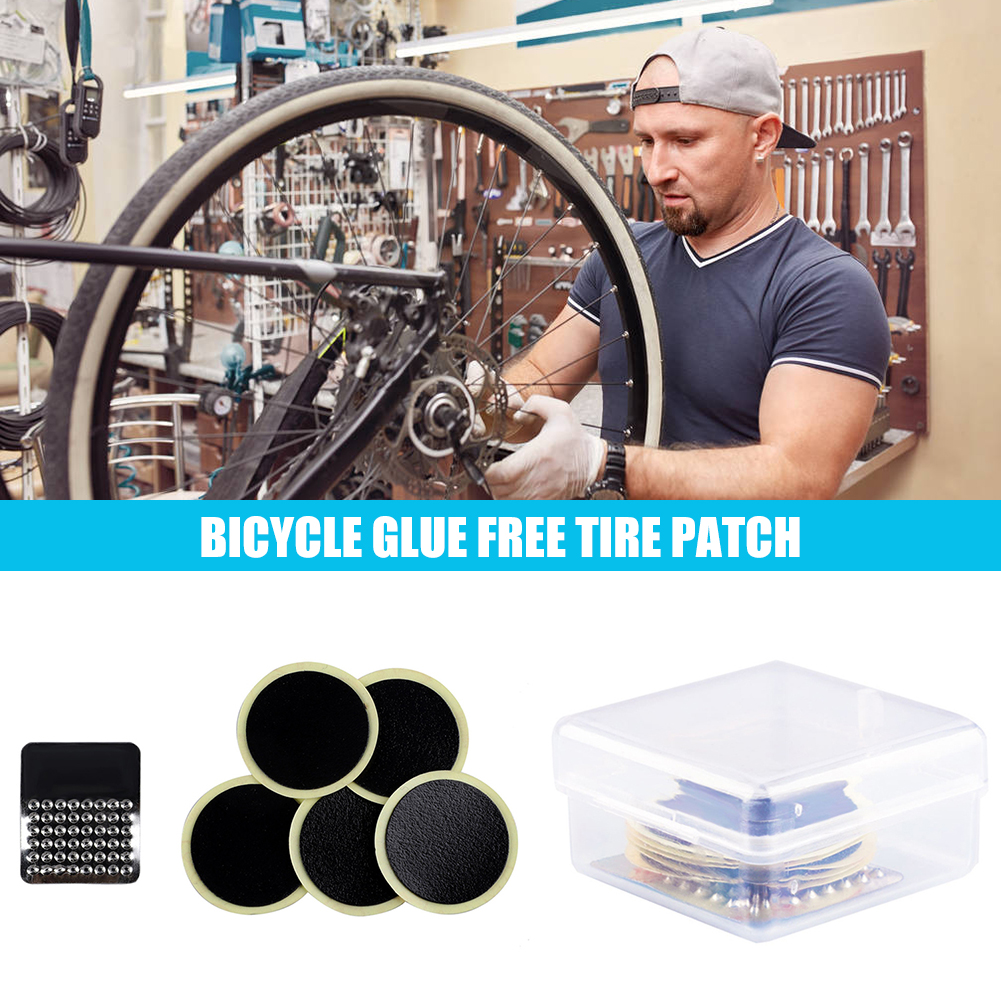 Tire Repair Tool Kit Bicycle Bike Glue-free Type Rubber Patch Cycling Equipment for Outdoor Caring Personal Bicycle Supply