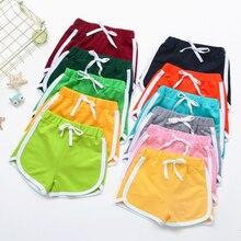 Летние милые шорты для девочек модные эластичные спортивные шорты ярких цветов со средней талией, Повседневная пляжная короткая одежда для...