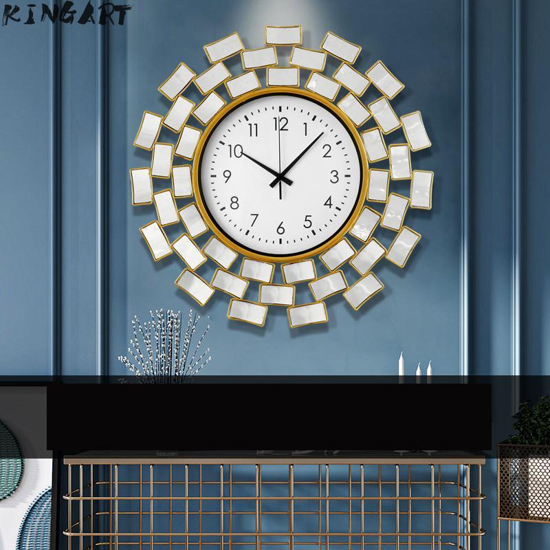 57 horloge murale en verre Design moderne grande horloge salon muet grande montre murale en verre décor à la maison suspendus Table à manger horloge murale