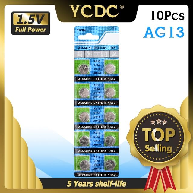 YCDC drop חינם + מכירה לוהטת + 10pcs AG13 LR44 LR1154 SR44 A76 357A 303 357 סוללה תא מטבע 1.55V אלקליין עבור שעונים צעצועים