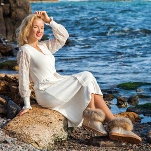 Image 5 - Women Boots Genuine Leather Real Fox Fur Brand Winter Shoes Warm Black Round Toe Ankle Plus Size Female Snow Boots DE