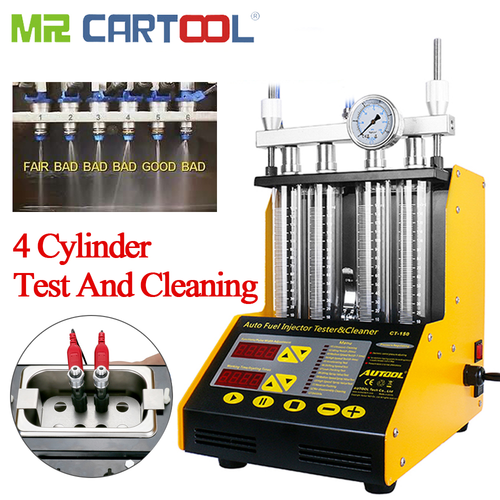 CT150 Car Injector Flushing Injector Cleaner Testers Machine 4 Cylinder Ultrasonic Common Rail Injectors Fuel Nozzles Tester