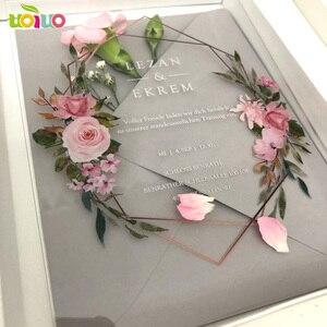 Image 2 - 10 sztuk przezroczysty akrylowy kartka z pudełko z nadrukiem niestandardowe akrylowe zaproszenie ślubne (inny przedmiot na zdjęciu wymaga dodatkowych kosztów)