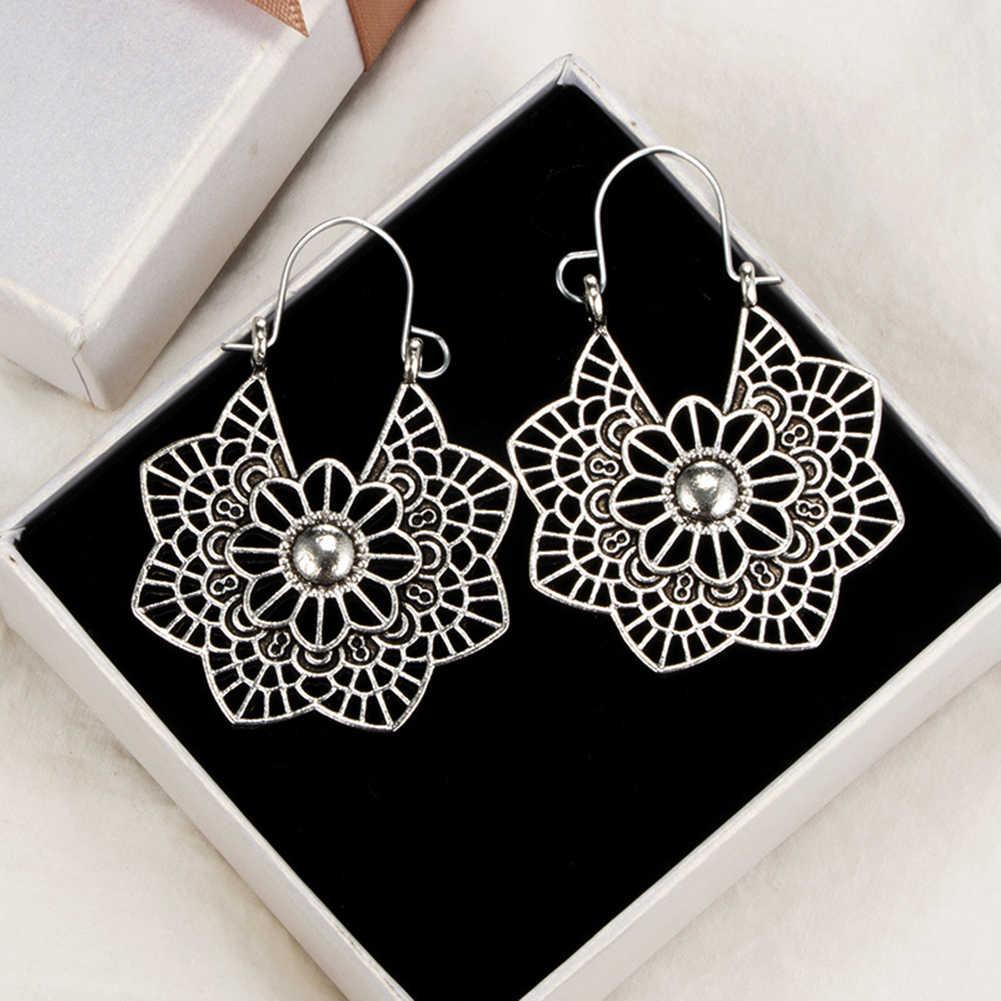 Geometrische Spinne Web Anhänger Ohrringe Bohemian Hohl Blume Ohrring für Frauen Baumeln Ohrring Schmuck Zubehör