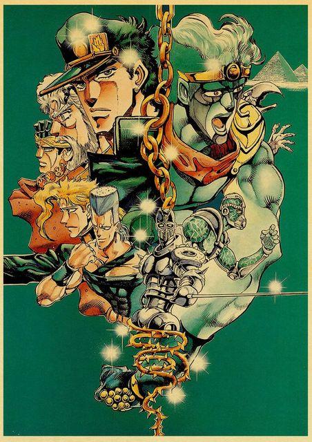 Japanese Anime JoJo's Bizarre Adventure Poster Kraft Paper Art Printed Retro Posters Home Room Decor Wall Stickers 4