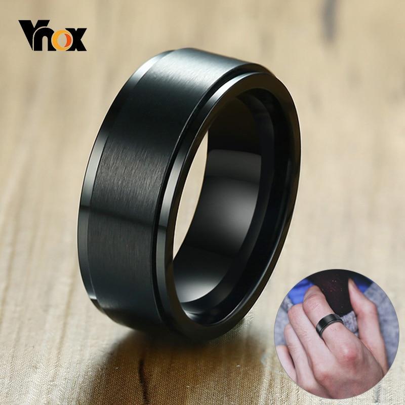 Vnox 8mm rotatif anneau de base pour hommes noir acier inoxydable décontracté homme Anel élégant Punk Spinner Alliance bijoux