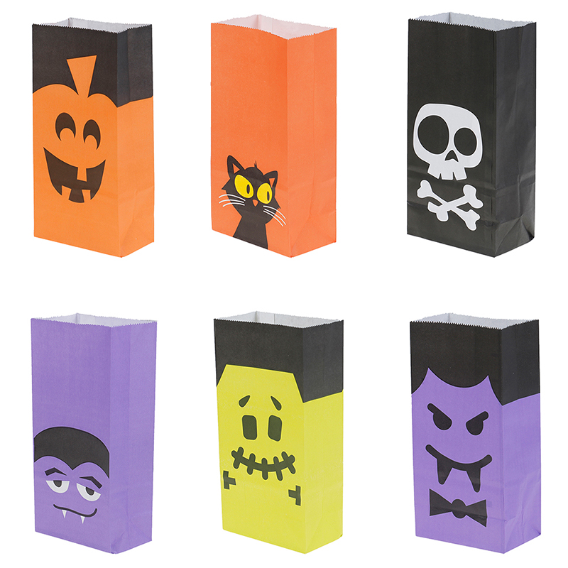 6Pcs Halloween Snacks Bags Wrapping Supplies Kraft Paper Bag Sweets and Candy Bar Packing Pouches For Kids Festival Favors in Gift Bags Wrapping Supplies from Home Garden