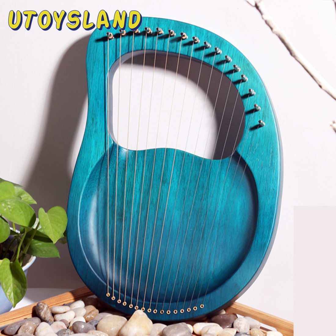 16 Strings Solid Wood Lyre Wooden Harp Classical Musical Instruments Children Christmas Gift - Pink/Burlywood/Indigo Blue/Claret
