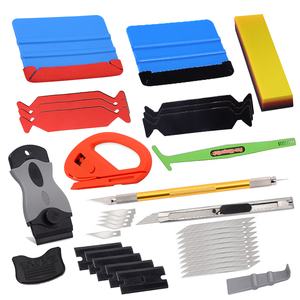 FOSHIO Carbon Film Car Vinyl Wrap Tool Kit Window Tinting Rubber Squeegee Razor Scraper sticker cutter knife Car Accessories(China)