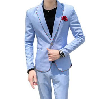 2020 casual busniess men suits brand Korean outside slim fit one-button Office meeting Suits men blue two pieces terno masculino