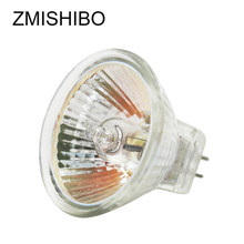 Zmishibo lâmpada halógena 10 pçs/lote mr16 gu5.3, lâmpada de halogênio 12v 20w 35w 50w 220v jcdr 50mm luzes reguláveis de vidro transparente, luzes brancas quentes 2700k
