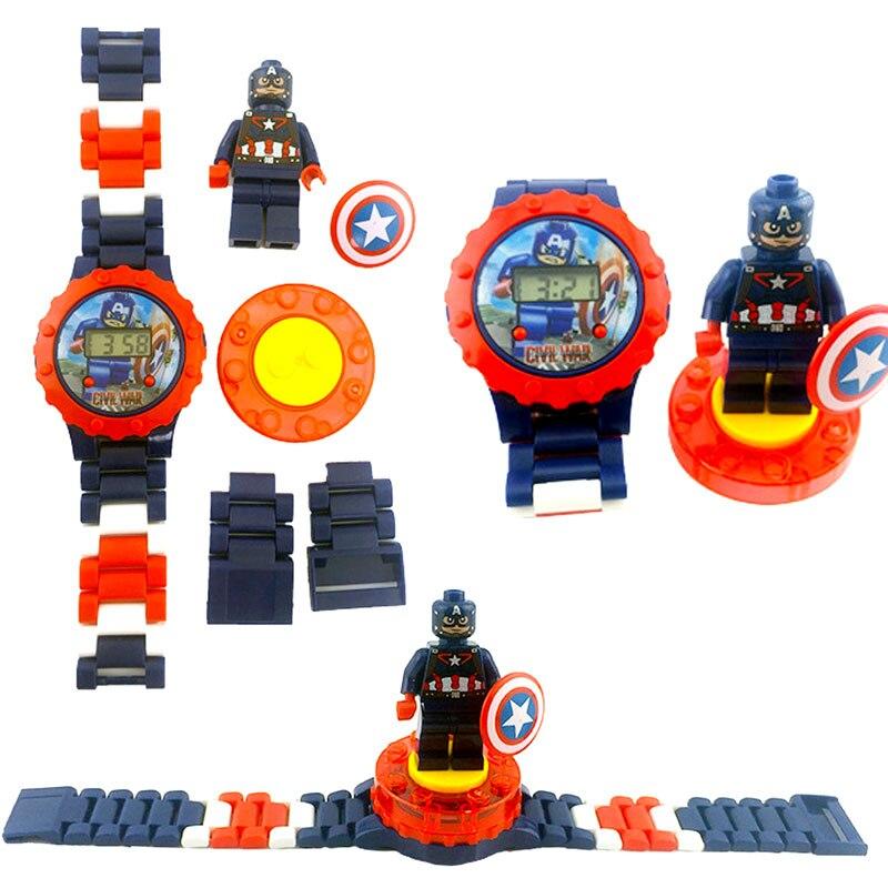 N0002 Children Watch Spiderman Batman Hulk Moana Princess Building Blocks Figures Children Watch Toys Kids Watch