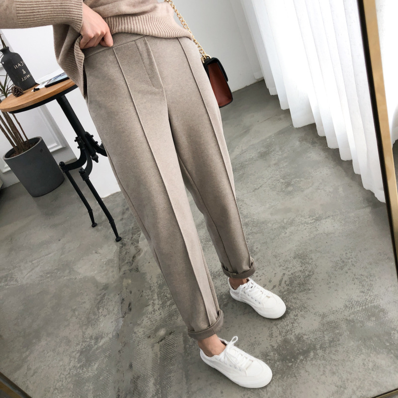 Women Spring Thicken Pencil Pants Casual Autumn Plus Size OL Style Wool Work Suit Pant High Waist Female Loose Trousers Capris
