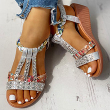 2020 New Wholesale Gladiator Wedge Heels Elastic Band Crystals Summer Women Shoes Woman Sandals Leisure Beach Sandals